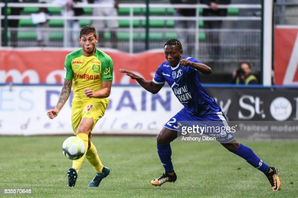 Emiliano Sala of Nantes and Charles Traore of Troyes during the Ligue 1 match between Troyes Estac and FC Nantes at Stade de l'Aube on August 19 2017...
