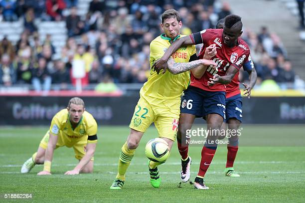 Emiliano Sala of Nantes and Ibrahim Amadou of Lille during the French League 1 match between Fc Nantes and Lille OSC at Stade de la Beaujoire on...