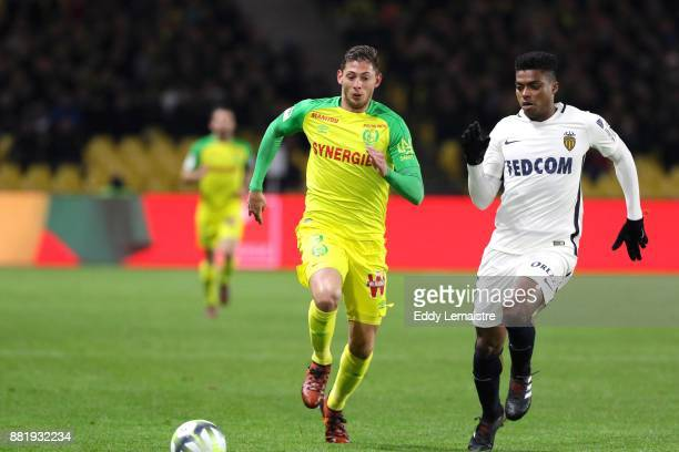 Emiliano Sala of Nantes and Jemerson of Nantes during the Ligue 1 match between FC Nantes and AS Monaco at Stade de la Beaujoire on November 29 2017...