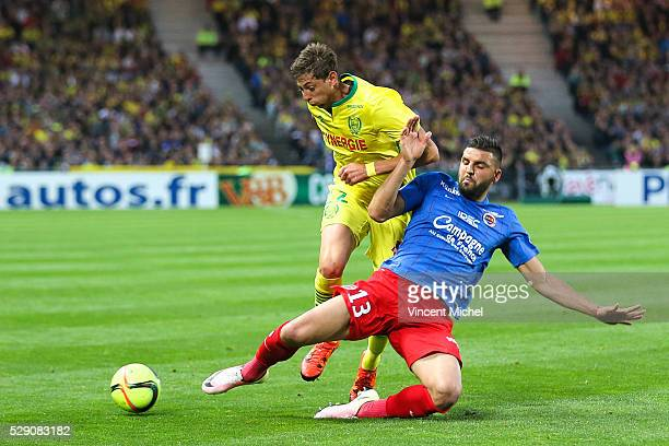 Emiliano Sala of Nantes and Syam Ben Youssef of Caen during the Football french Ligue 1 match between FC Nantes and SM Caen at Stade de la Beaujoire...