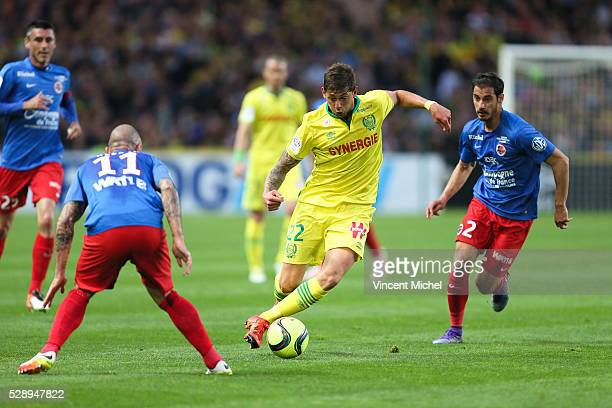 Emiliano Sala of Nantes during the Football french Ligue 1 match between FC Nantes and SM Caen at Stade de la Beaujoire on May 7 2016 in Nantes France