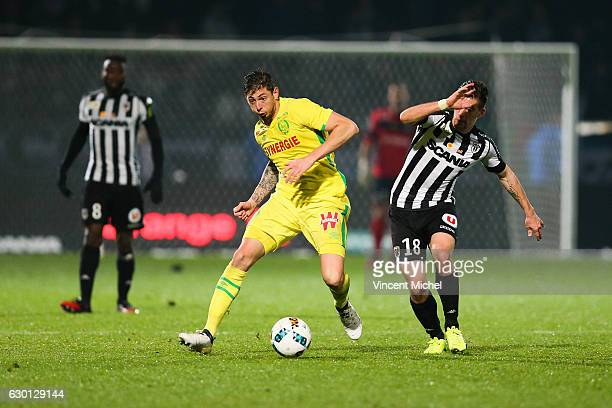 Emiliano Sala of Nantes during the French Ligue 1 match between Angers and Nantes on December 16 2016 in Angers France