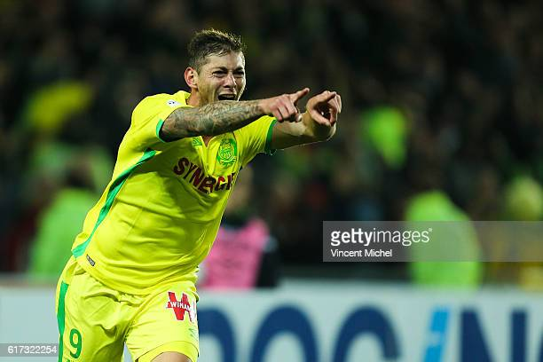 Emiliano Sala of Nantes during the Ligue 1 match between FC Nantes and Stade Rennais at Stade de la Beaujoire on October 22 2016 in Nantes France