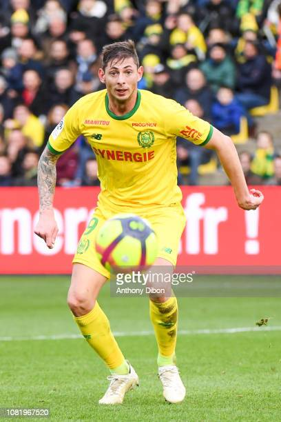 Emiliano Sala of Nantes during the Ligue 1 match between Nantes and Rennes at Stade de la Beaujoire on January 13 2019 in Nantes France