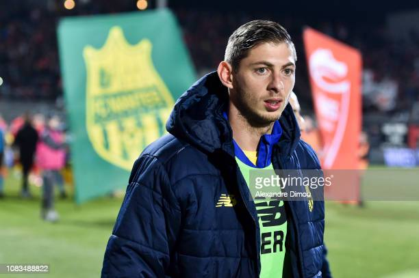 Emiliano Sala of Nantes during the Ligue 1 match between Nimes and Nantes at Stade des Costieres on January 16 2019 in Nimes France