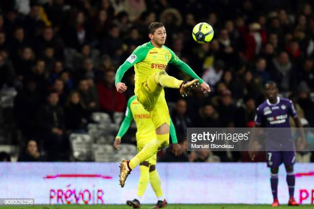 Emiliano Sala of Nantes during the Ligue 1 match between Toulouse and Nantes at Stadium Municipal on January 17 2018 in Toulouse