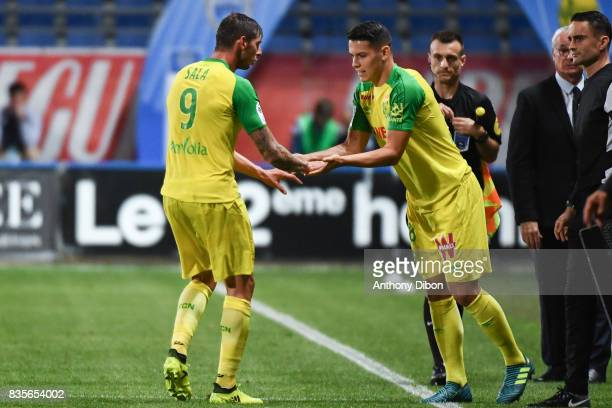 Emiliano Sala of Nantes is replaced by Mariusz Stepinski of Nantes during the Ligue 1 match between Troyes Estac and FC Nantes at Stade de l'Aube on...
