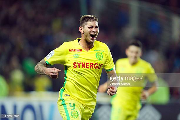 Emiliano Sala of Nantes jubilates as he scores the first goal during the Ligue 1 match between FC Nantes and Stade Rennais at Stade de la Beaujoire...