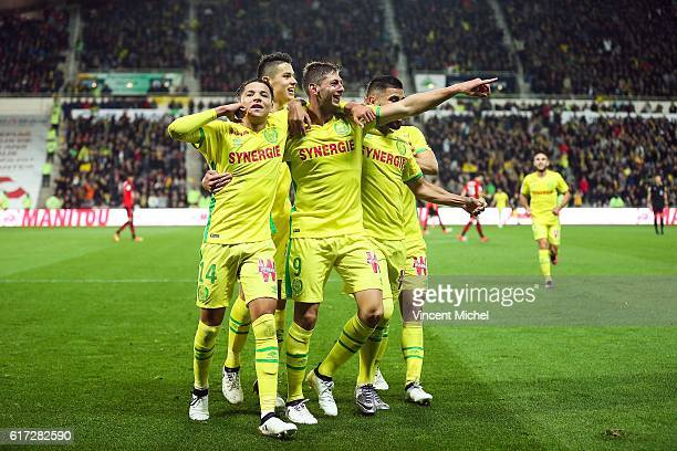 Emiliano Sala of Nantes jubilates with teammates after scoring the first goal during the Ligue 1 match between FC Nantes and Stade Rennais at Stade...