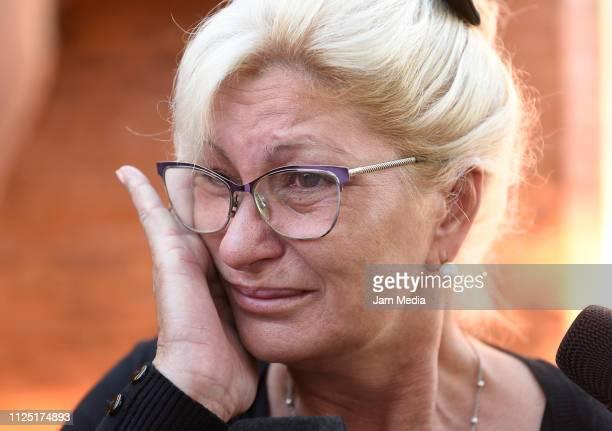 Emiliano Sala's aunt Mirta Taffarel talks to the media as she leaves the vigil at Sala's boyhood club San Martin de Progreso on February 16 2019 in...