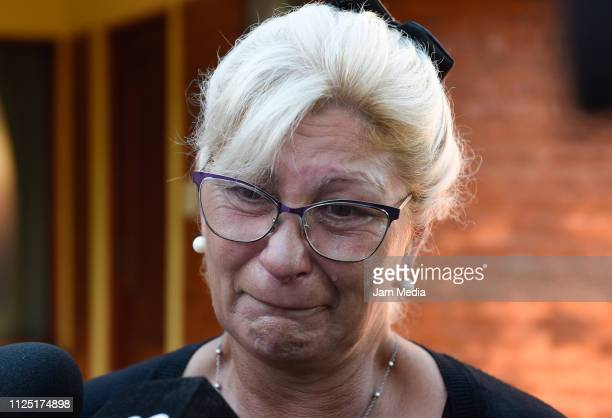 Emiliano Sala's aunt Mirta Taffarel talks to the media as she leaves the vigil at Sala's boyhood club San Martin de Progreso on February 16 2019 in...