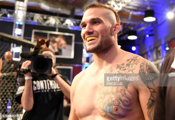 Emiliano Sordi of Argentina prepares to enter the Octagon prior to his light heavyweight bout against Ryan Spann during Dana White's Tuesday Night...