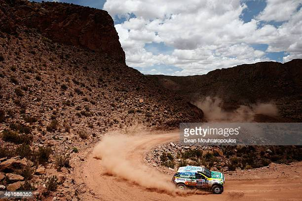Emiliano Spataro and Benjamin Lozada of Argentina for the Renault Duster team compete near the Salinas Grandes during Stage 10 on day 11 of the Dakar...