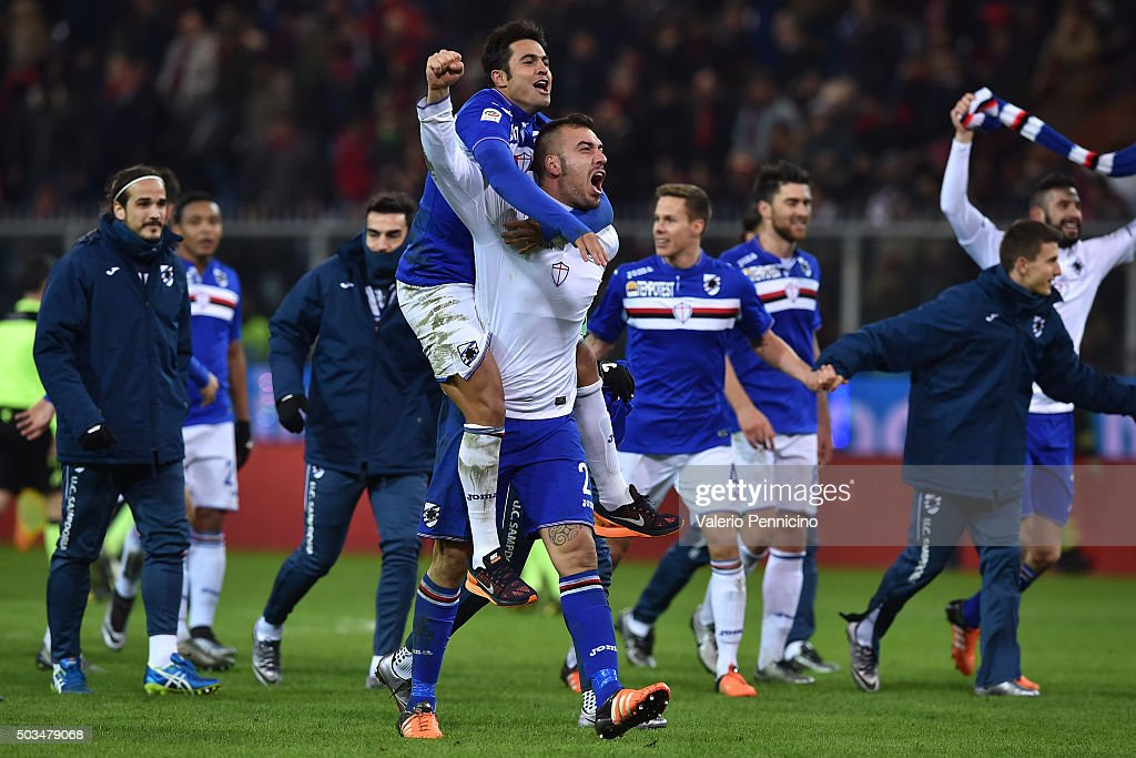 Emiliano Viviano (R) and Citadin Martins Eder of UC Sampdoria celebrate victory at the end of the Serie A match between Genoa CFC and UC Sampdoria at Stadio Luigi Ferraris on January 5, 2016 in Genoa, Italy.