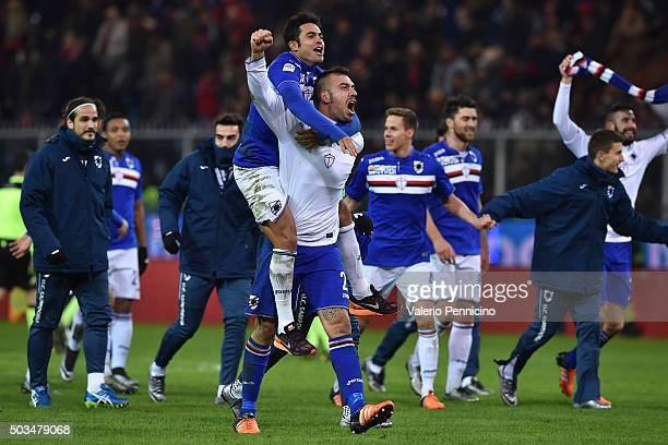 Emiliano Viviano and Citadin Martins Eder of UC Sampdoria celebrate victory at the end of the Serie A match between Genoa CFC and UC Sampdoria at...