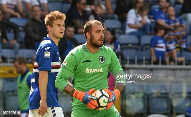 Emiliano Viviano goalkeeper and Joachim Andersen of Sampdoria during the serie A match between UC Sampdoria and Cagliari Calcio at Stadio Luigi...