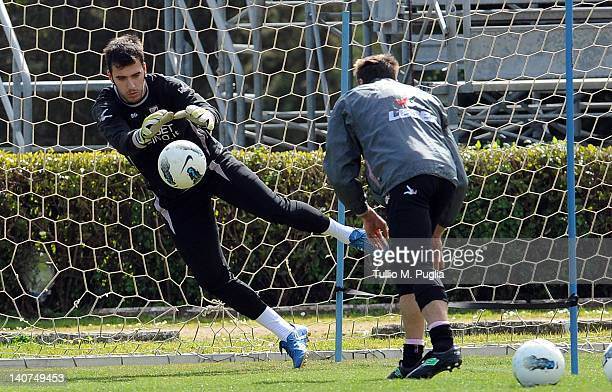 Emiliano Viviano goalkeeper of Palermo in action during a Palermo training session at Tenente Carmelo Onorato Sports Center on March 6 2012 in...