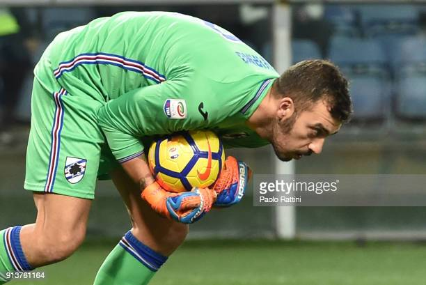 Emiliano Viviano goalkeeper of Sampdoria in action during the serie A match between UC Sampdoria and Torino FC at Stadio Luigi Ferraris on February 3...