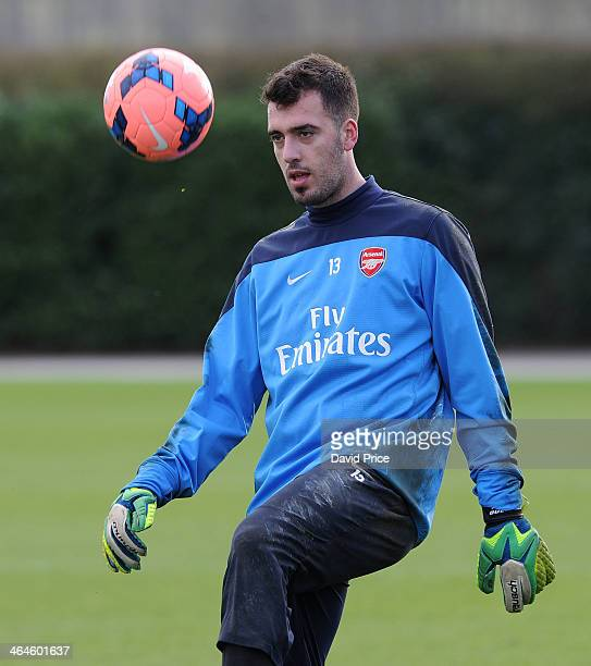 Emiliano Viviano of Arsenal during Arsenal Training Session at London Colney on January 23 2014 in St Albans England