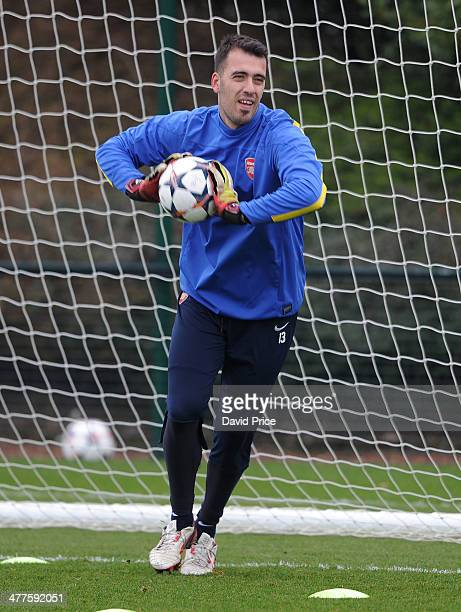 Emiliano Viviano of Arsenal during the 1st team training session at London Colney on March 10 2014 in St Albans England
