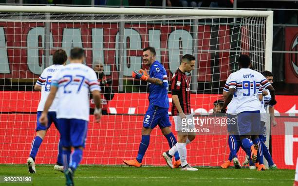 Emiliano Viviano of UC Sampdoria celebrates during the serie A match between AC Milan and UC Sampdoria at Stadio Giuseppe Meazza on February 18 2018...