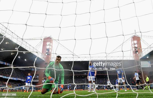 Emiliano Viviano of UC Sampdoria dejected during the serie A match between UC Sampdoria and FC Internazionale at Stadio Luigi Ferraris on March 18...
