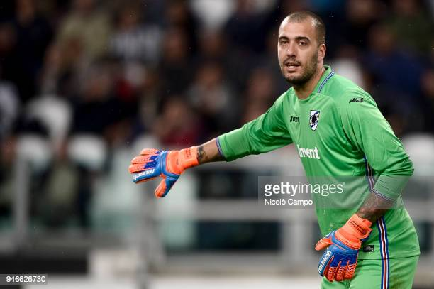 Emiliano Viviano of UC Sampdoria gestures during the Serie A football match between Juventus FC and UC Sampdoria Juventus FC won 30 over UC Sampdoria