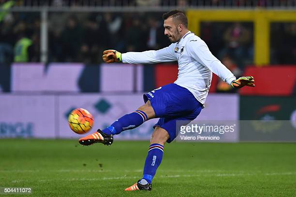 Emiliano Viviano of UC Sampdoria in action during the Serie A match between Genoa CFC and UC Sampdoria at Stadio Luigi Ferraris on January 5 2016 in...