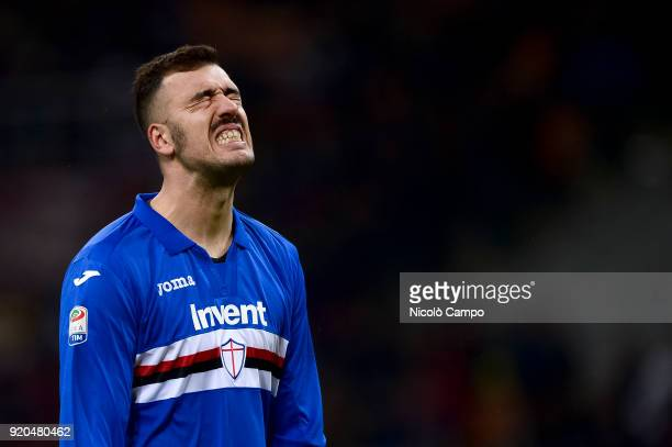 Emiliano Viviano of UC Sampdoria looks dejected during the Serie A football match between AC Milan and UC Sampdoria AC Milan won 10 over UC Sampdoria