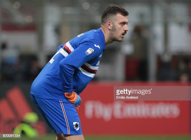 Emiliano Viviano of UC Sampdoria looks on during the serie A match between AC Milan and UC Sampdoria at Stadio Giuseppe Meazza on February 18 2018 in...