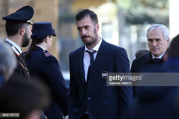 Emiliano Viviano of US Sampdoria ahead of a funeral service for Davide Astori on March 8 2018 in Florence Italy The Fiorentina captain and Italy...