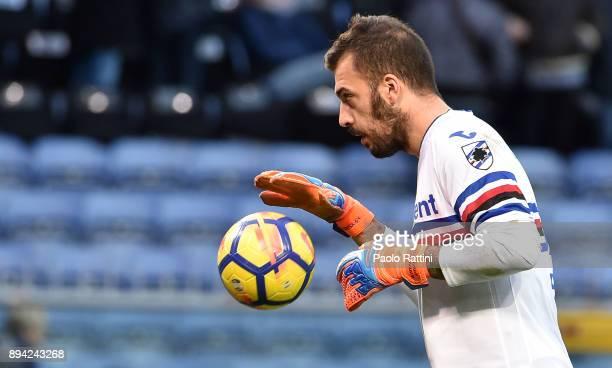 Emiliano Viviano Sampdoria goalkeeper during the Serie A match between UC Sampdoria and US Sassuolo at Stadio Luigi Ferraris on December 17 2017 in...