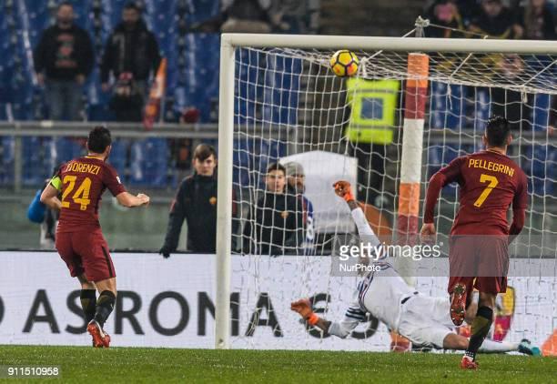 Emiliano Viviano ward off the penalty kick a Alessandro Florenzi during the Italian Serie A football match between AS Roma and Sampdoria at the...