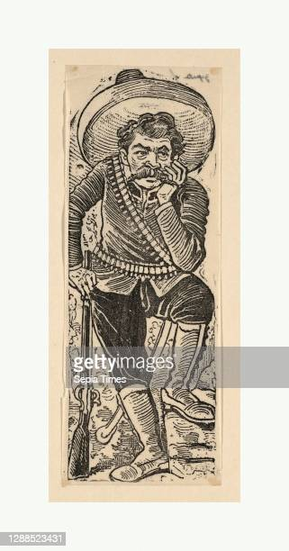 Emiliano Zapata leaning on his gun, ca. 1911, Etching on zinc, Sheet: 6 3/4 × 2 9/16 in. , Prints, José Guadalupe Posada , According to note on mount...