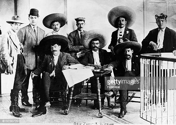 Emiliano Zapata Mexican revolutionary and supporter of agrarianism He is seated with his staff