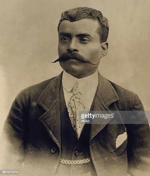 Emiliano Zapata Salazar . Mexican revolutionary. Photographic reproduction.