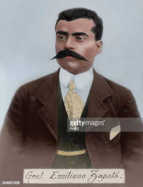 Emiliano Zapata Salazar . Mexican revolutionary. Portrait. Photographic reproduction. Colored.