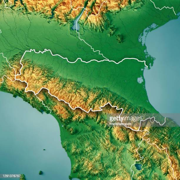 emilia-romagna italy 3d render topographic map color border - emilia romagna stock pictures, royalty-free photos & images