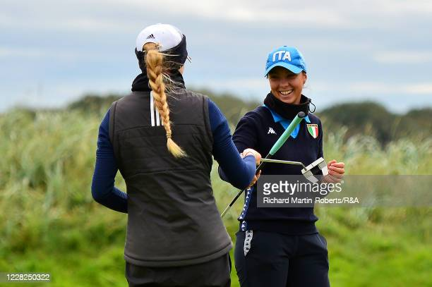 Emilie Alba Paltrinieri of Italy congratulates Annabelll Fuller of England on winning her match during the SemiFinals on Day Five of The Women's...