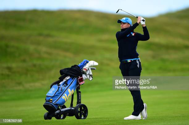 Emilie Alba Paltrinieri of Italy hits an approach shot during the SemiFinals on Day Five of The Women's Amateur Championship at The West Lancashire...