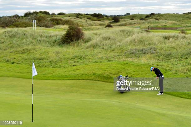 Emilie Alba Paltrinieri of Italy putts during the SemiFinals on Day Five of The Women's Amateur Championship at The West Lancashire Golf Club on...