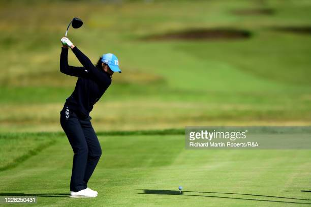 Emilie Alba Paltrinieri of Italy tees off during the SemiFinals on Day Five of The Women's Amateur Championship at The West Lancashire Golf Club on...