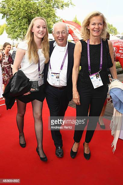 Emilie Aust, Stefan Aust and Katrin Hinrichs-Aust attend the FEI European Championship 2015 media night on August 11, 2015 in Aachen, Germany.