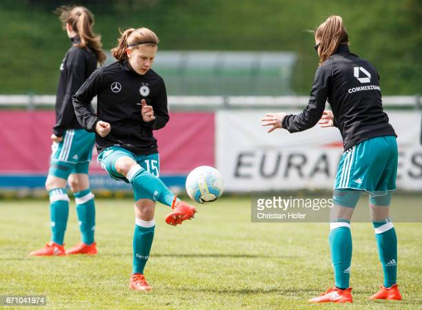 Emilie Bernhardt and Julia Pollak of Germany in action during the warm up session prior to the Under 15 girls international friendly match between...