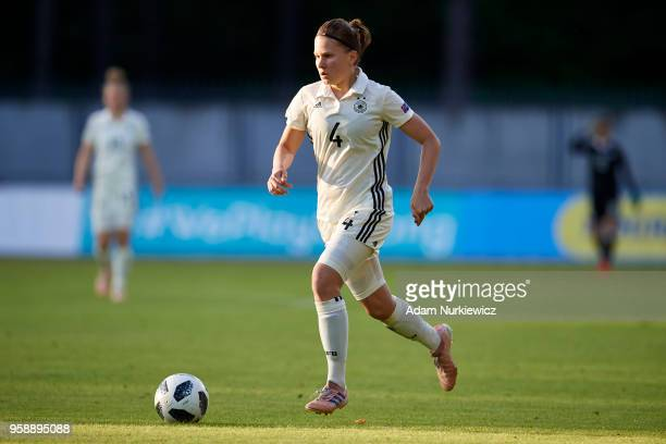Emilie Bernhardt from Germany U17 Girls controls the ball during the UEFA Under17 Girls European Championship match between Lithuania U17 and Germany...