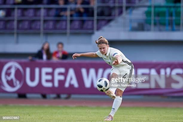 Emilie Bernhardt from Germany U17 Girls shoots on the goal during soccer match Lithuania U17 Girls v Germany U17 Girls UEFA Under17 Girls European...