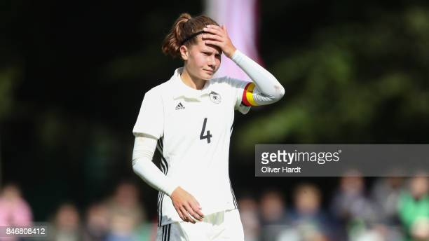 Emilie Bernhardt of Germany appears frustrated after the Girls U16 international friendly match between Germany and United States at Krandelstadion...