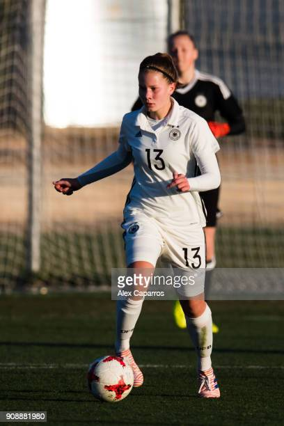Emilie Bernhardt of Germany conducts the ball during the U17 girl's international friendly match between Germany and France on January 20 2018 in...