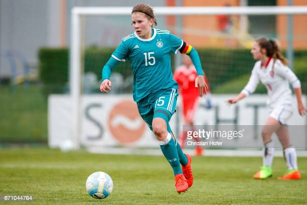 Emilie Bernhardt of Germany controls the ball during the Under 15 girls international friendly match between Czech Republic and Germany on April 19...