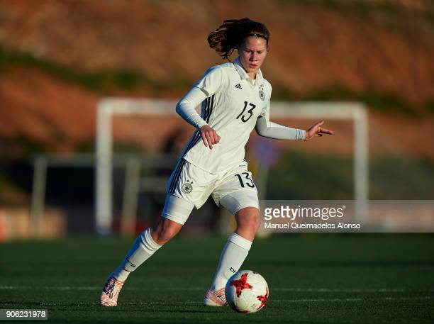 Emilie Bernhardt of Germany in action during the international friendly match between U17 Girl's Germany and U17 Girl's England at Complex Esportiu...